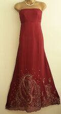 ᴥᴥSTUNNING MONSOON sz 14 RED PINK GOLD SILK CHIFFON MAXI DRESS BALL GOWN SEQUINS