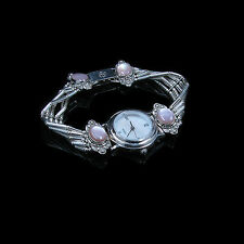 5 Strand .925 Sterling Silver Pink Pearl White pearl Watch Face Inlay Wristwatch
