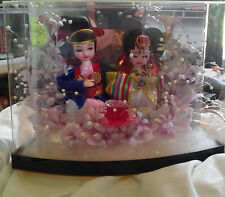 3D light up Shadow Box Wedding, Korean Couple, Man-Women, Bride Groom Dolls in