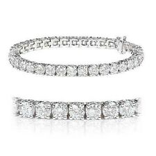 5.00 Carat Round Diamond Claw Set Tennis Bracelet Crafted in 18k White Gold.