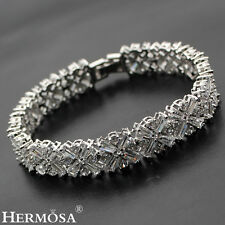XMAS SALE .925 Sterling Silver HOT WOMEN GIFTS .White Topaz Bracelets 7""