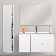 Mobili da bagno salvaspazio cm 80x36 lavabo + specchiera + colonna bianco lucido