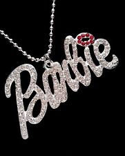 Barbie Iced Out Crystal Silver Plated Large Pendant Necklace *UK*