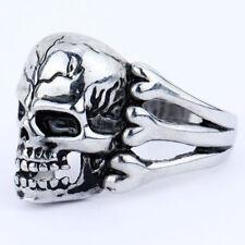 10# Gothic Punk Men Cool Jewellery Stainless Steel Skull Flower Biker Rings