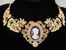 necklace 18k gold pl metal lace white black cameo vintage victorian style FIOJ