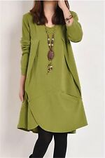 Green Women Fashion Casual Loose Turtleneck Long Sleeve Pullover Plus Dress XL