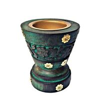 Incense Resin Wooden Burner Charcoal Indian Hand Crafted (Green Pedastal)