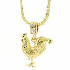 "Mens Medallion Rooster Gold Tone Pendant 4mm 24"" Herringbone Chain Cock B16 …"