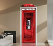 Red English Phone Booth Door or Wall Repositionable Decal Sticker - Laminated