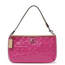 COACH Signature Embossed Patent Leather Large Wristlet F49827 Mulberry/Tan NWT!