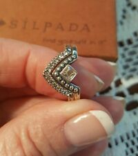 Silpada .925 Sterling Silver ALL ANGEL STACK RING CZ Ring R3484 SIZE 8