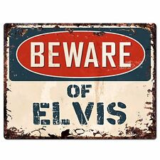 PBFN 0663 Beware of ELVIS Plate Rustic Chic Sign Home Decor Funny Gift Ideas
