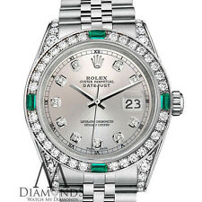 Women's Rolex 31mm Datejust Silver dialJubilee Bracelet custom Emerald diamonds