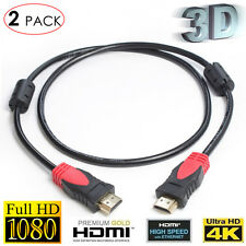 3ft-2Pack 1.4 Standard HDMI Cable w/Ferrite Cores for Full HD Ethernet 3D 1080P