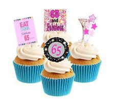 Novelty 65th Birthday PINK Mix 12 Edible Stand Up wafer paper cake toppers party