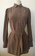BCBG MAX AZRIA Womens Brown Belted SILK Work Tunic Shirt Dress Size XS