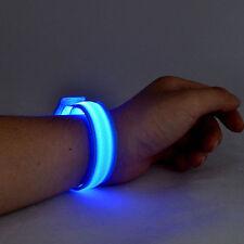 Blue LED Flashing Nylon Bike Light Wristband, Unisex Jogger Party Christmas Gift