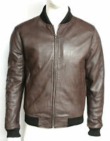 New 70'S Retro Bomber Men's Brown Cool Classic Soft Italian Nappa Leather Jacket