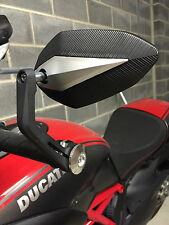 Nueva Ducati Diavel bar End Mirrors Carbono Rojo Azul A Rayas Negro Etc Forma De Diamante