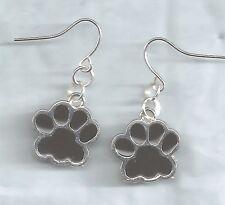 Black Paws Prints earrings-silver black enamel rhodium metal drop/dangle/hook