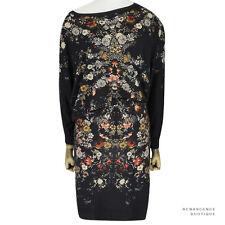 Alexander McQueen noir imprimé floral asymétrique tricot pull robe IT40 s