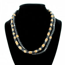 Pair of Mens Brown Black and Silver Coloured Beaded Necklaces Surfer