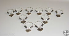 10 x Piece Silver Wine Glass Charms Top Table Bride and Groom Wedding Day