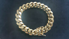 "8.5"" Miami Cuban Link Chain Bracelet 14K Yellow Gold Over 925 Sterling Silver"