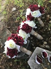 3 Rustic  Shabby burlap toss/bridesmaids Burgundy Ivory wedding bouquet Country