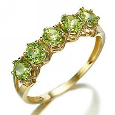 Nobby Round Cut Size 8 Anniversary Peridot  18K Gold Filled Womens Rings Gift