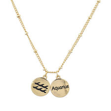 Lux Accessories Gold Tone Aquarius and Astrological Sign Charm Necklace