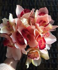 Luxury Artificial Silk Flower Cymbidium Orchid 12 Stems Hand Tie Ideal Wedding