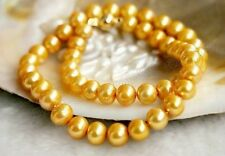 """Pretty 8-9MM Gold Genuine Natural Akoya Cultured Pearl Necklace 18"""" AA+"""
