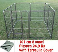 101 cm 8 Panel Pet Dog Playpen Puppy Exercise Fence Enclosure Cage Cat Play Pen