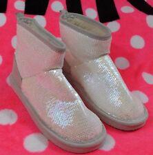 Victoria's Secret PINK Mukluk Boots Slippers White Iridescent Medium 7-8 NEW