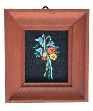 Dolls House Hand Made Miniature 1980s Embroidery Picture Dark Frame Bluebell