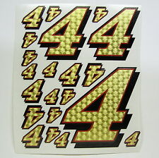 Racing Numbers Number 4 Decal Sticker Pack Gold Red Black 1/8 1/10 RC models S05