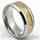 Silver Tungsten Carbide Ring Celtic Dragon Gold Carbon Mens Jewelry Wedding Band