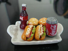 Ceramic Tray of Fast Food and Coca Cola  Dollhouse Miniatures Supply Food Deco