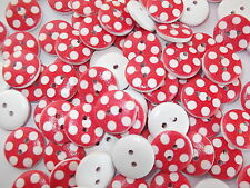40 x LARGE POLKA DOT RED 2 HOLE WOODEN 15mm BUTTONS, CRAFT ETC.,