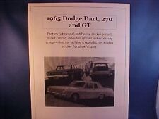 1965 Dodge Dart, 270, GT factory cost/dealer sticker prices for car + options $$