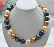 "P4373 20"" 20mm golden coffee blue black SOUTH SEA SHELL PEARL NECKLACE"