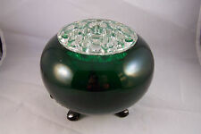 Vintage Flower Flowerlite Green Rose Bowl #999 by Viking Glass w Flowerette frog