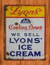 "TIN-UPS TIN SIGN ""Lyon's Ice Cream"" Vintage Dessert Wall Decor"