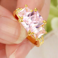 Size 8.5 Women's Pink Sapphire Crystal Wedding Ring 14KT yellow Gold Filled Band