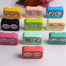 Hot sale Travel Mini Eye Shape Contact Lens Case Box Container Tweezers Set FO