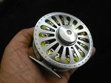 CUSTOM  7/8 WT TURBINE SILVER ANODIZED CNC 6061-T6 FLY REEL WF-8-F LINE W/ LOOP