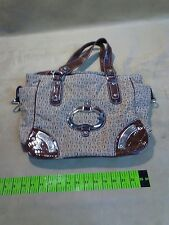 RARE G BY GUESS BROWN VINTAGE LOOK STUDDED LEATHER SATCHEL WOMEN'S HANDBAG VGC