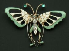 "NETTIE ROSENSTEIN Sterling Enamel Butterfly 3.5"" Clip Pin Brooch"