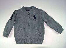 Ralph Lauren Boy's Kids Full Zip Big Pony Sweater Heather Gray Sz 12M 12 Months